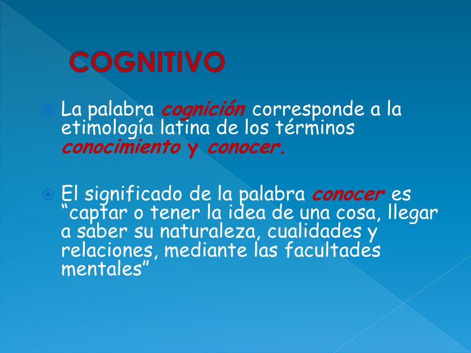 La palabra cognición corresponde a la etimología latina de los términos conocimiento y conocer. El significado de la palabra conocer es captar o tener