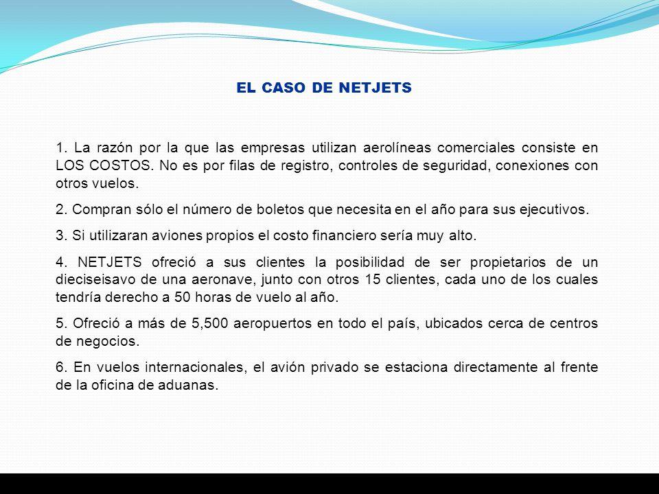 EL CASO DE NETJETS 1. La razón por la que las empresas utilizan aerolíneas comerciales consiste en LOS COSTOS. No es por filas de registro, controles