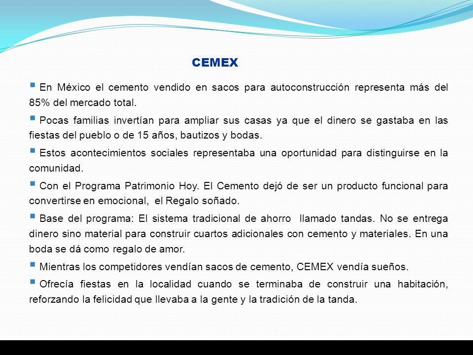 CEMEX En México el cemento vendido en sacos para autoconstrucción representa más del 85% del mercado total. Pocas familias invertían para ampliar sus