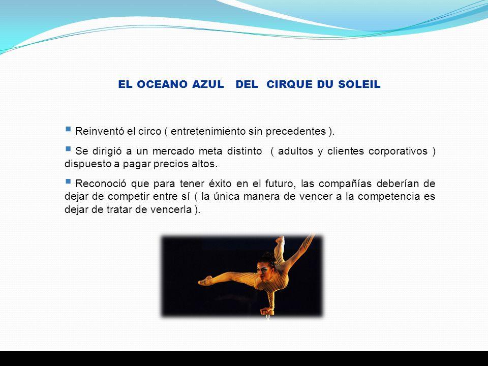5 EL OCEANO AZUL DEL CIRQUE DU SOLEIL Reinventó el circo ( entretenimiento sin precedentes ). Se dirigió a un mercado meta distinto ( adultos y client