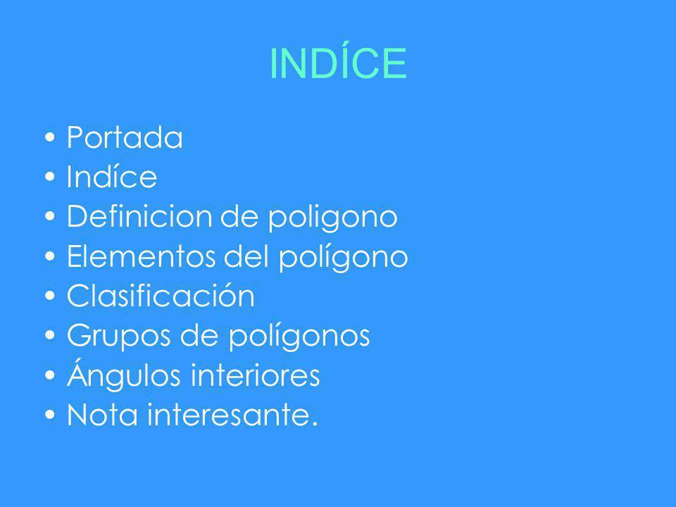 Portada Indíce Definicion de poligono Elementos del polígono Clasificación Grupos de polígonos Ángulos interiores Nota interesante.