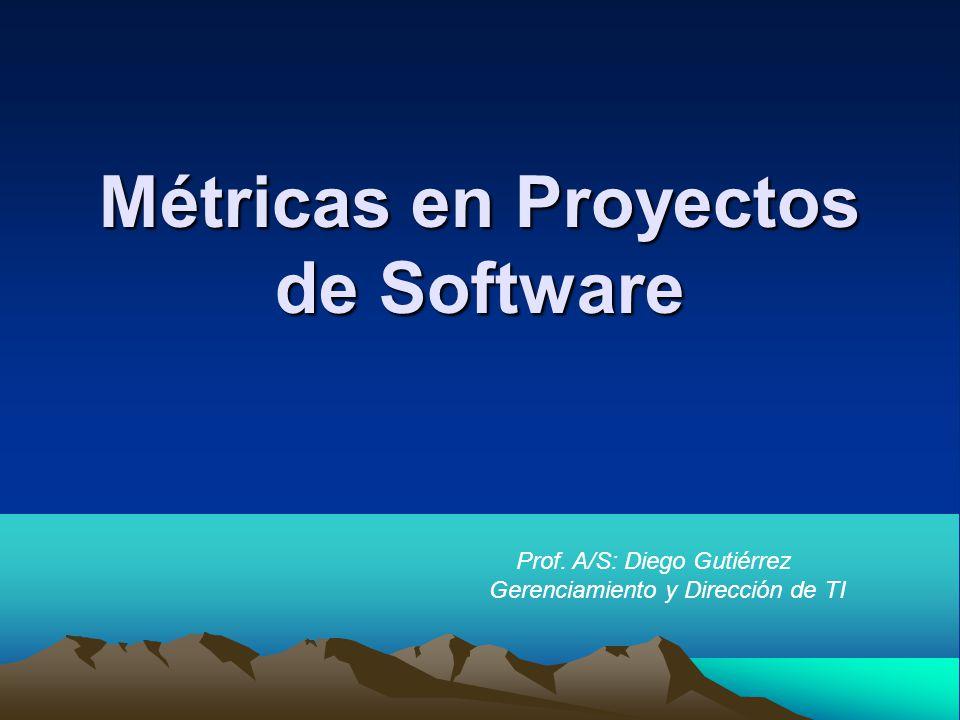 Métricas en Proyectos de Software Prof. A/S: Diego Gutiérrez Gerenciamiento y Dirección de TI