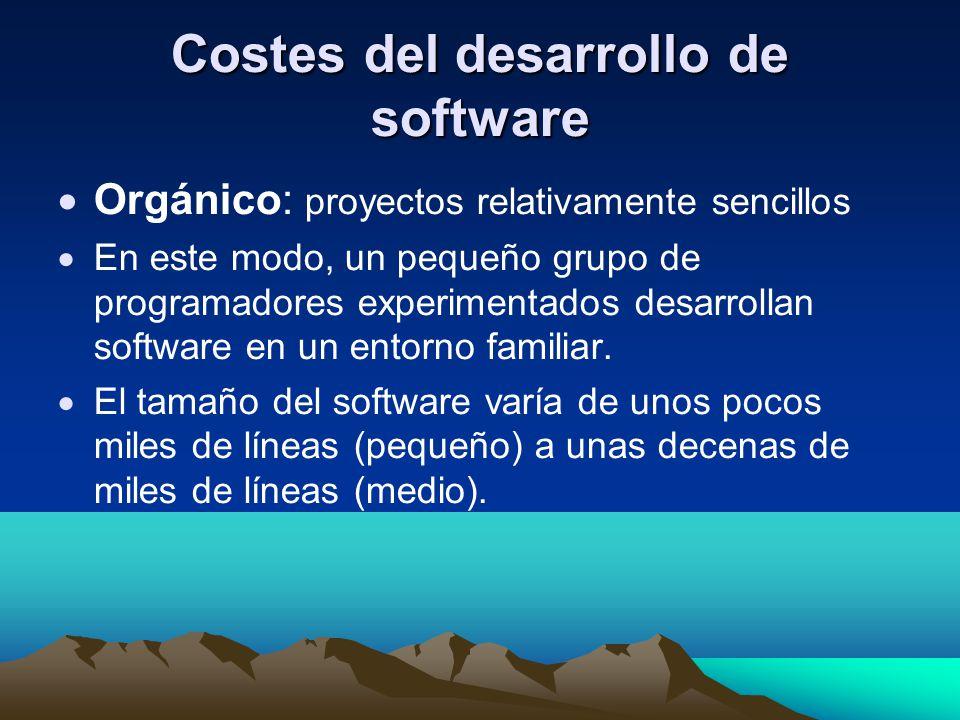 Costes del desarrollo de software Orgánico: proyectos relativamente sencillos En este modo, un pequeño grupo de programadores experimentados desarroll