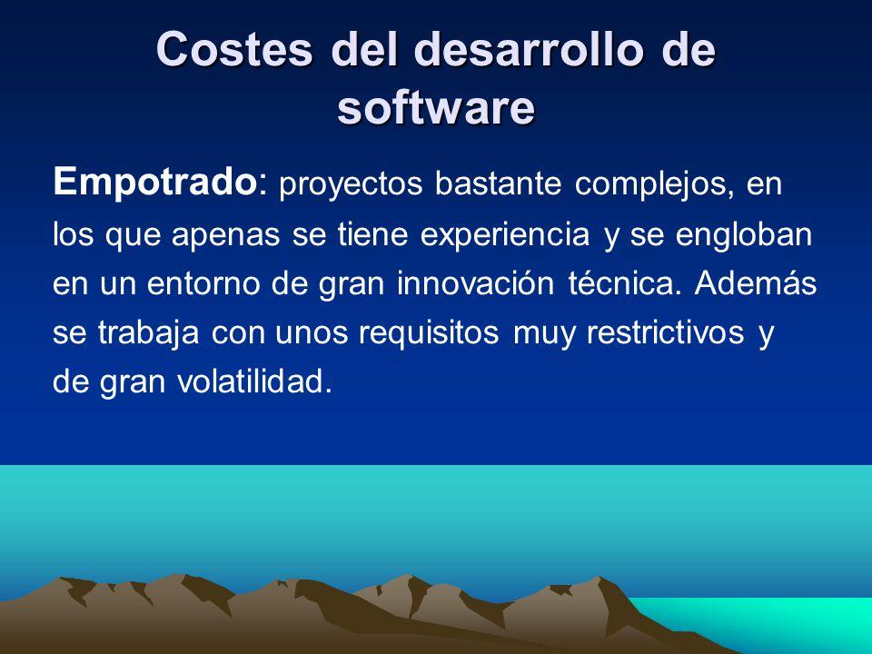 Costes del desarrollo de software Empotrado: proyectos bastante complejos, en los que apenas se tiene experiencia y se engloban en un entorno de gran