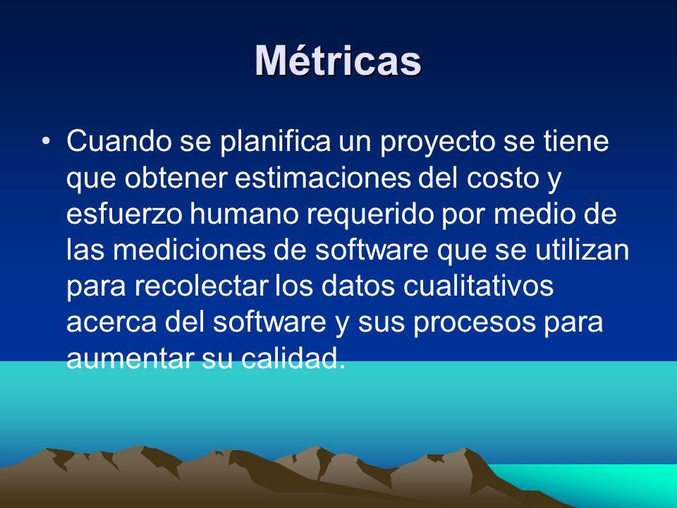 Métricas Cuando se planifica un proyecto se tiene que obtener estimaciones del costo y esfuerzo humano requerido por medio de las mediciones de softwa