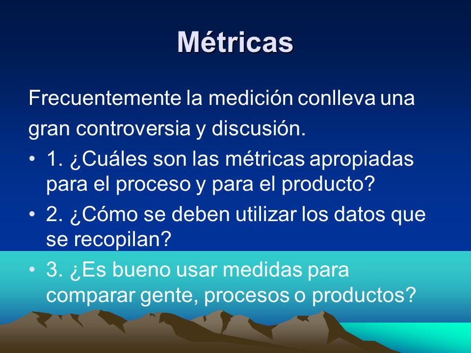Métricas Frecuentemente la medición conlleva una gran controversia y discusión. 1. ¿Cuáles son las métricas apropiadas para el proceso y para el produ