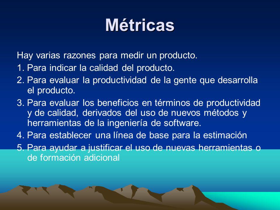 Métricas Hay varias razones para medir un producto. 1. Para indicar la calidad del producto. 2. Para evaluar la productividad de la gente que desarrol