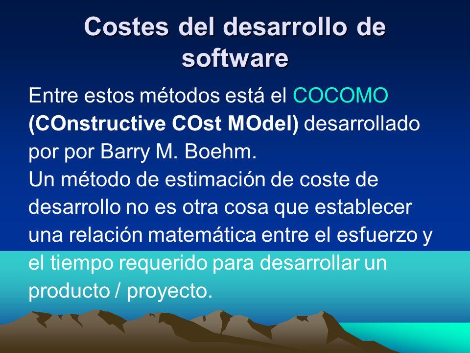 Costes del desarrollo de software Entre estos métodos está el COCOMO (COnstructive COst MOdel) desarrollado por por Barry M. Boehm. Un método de estim