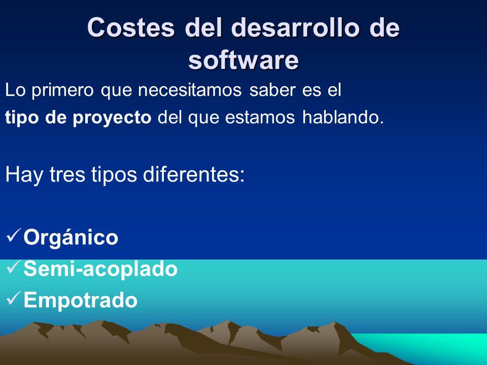 Costes del desarrollo de software Lo primero que necesitamos saber es el tipo de proyecto del que estamos hablando. Hay tres tipos diferentes: Orgánic