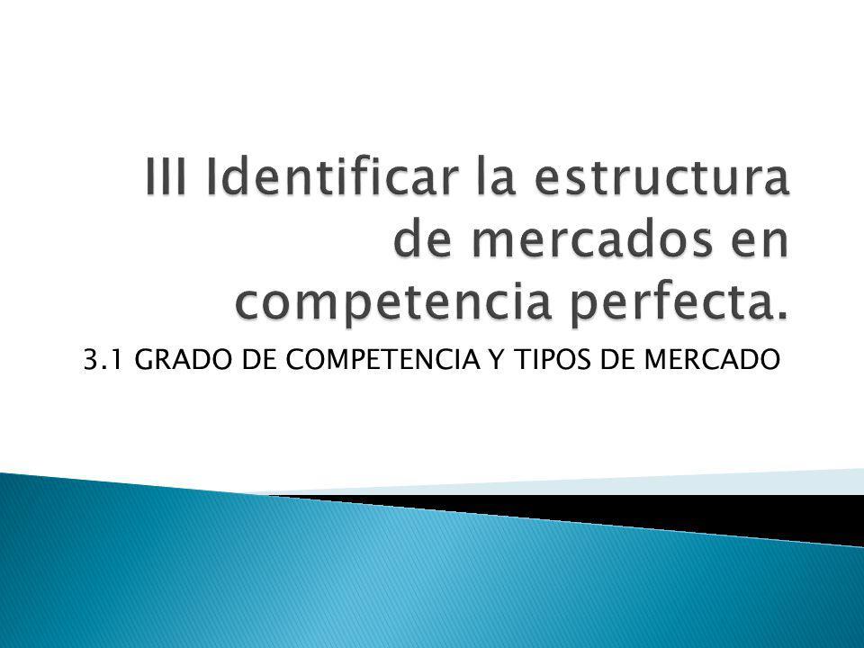 3.1 GRADO DE COMPETENCIA Y TIPOS DE MERCADO