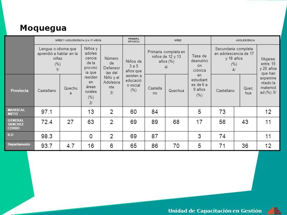 18 Unidad de Capacitación en Gestión NIÑEZ Y ADOLESCENCIA (0 A 17 AÑOS) PRIMERA INFANCIA NIÑEZADOLESCENCIA Lengua o idioma que aprendió a hablar en la