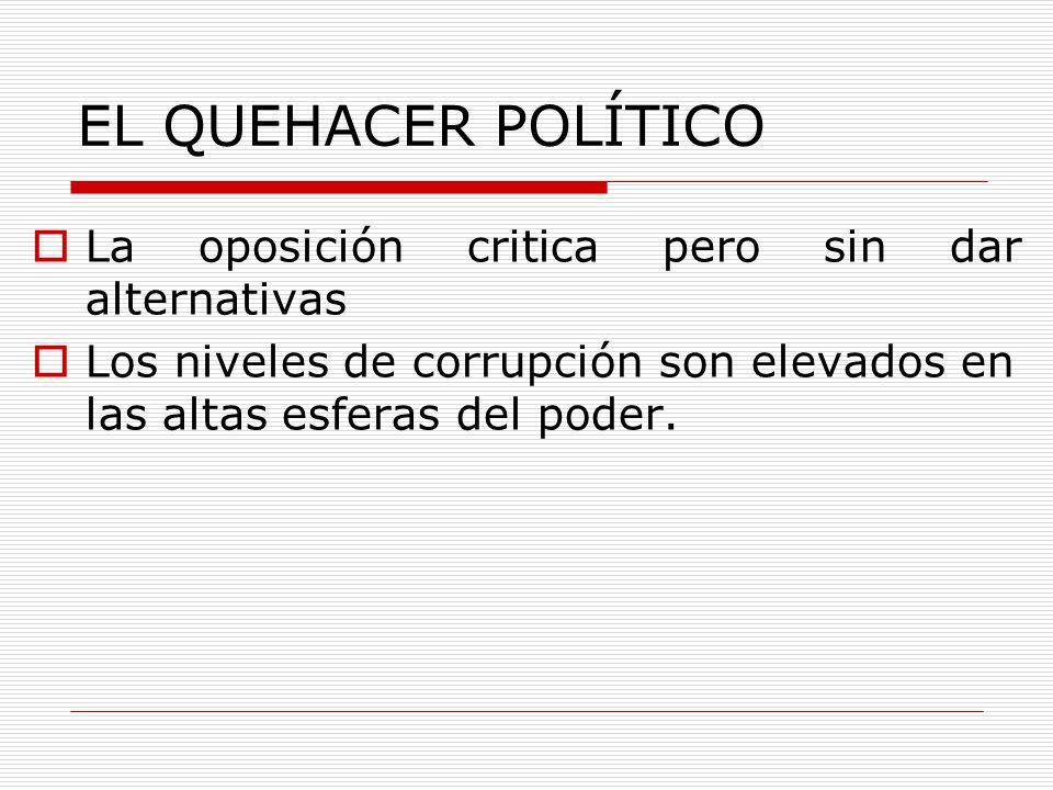 EL QUEHACER POLÍTICO La oposición critica pero sin dar alternativas Los niveles de corrupción son elevados en las altas esferas del poder.