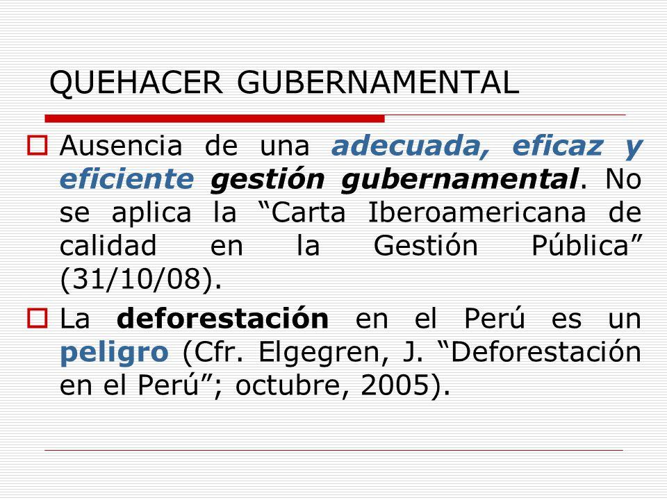 QUEHACER GUBERNAMENTAL Ausencia de una adecuada, eficaz y eficiente gestión gubernamental. No se aplica la Carta Iberoamericana de calidad en la Gesti