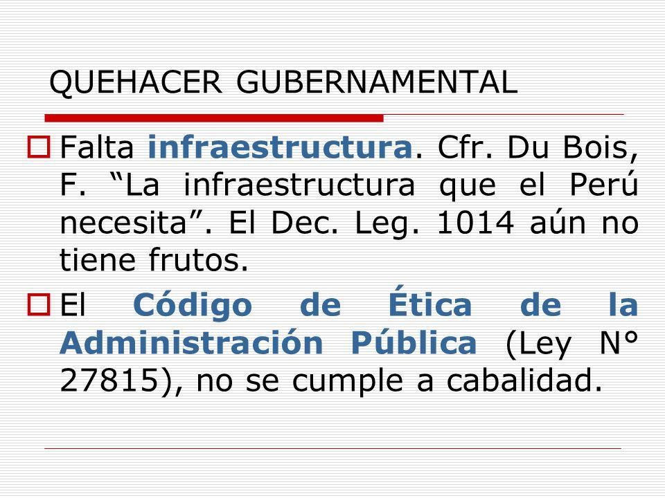 QUEHACER GUBERNAMENTAL Falta infraestructura. Cfr. Du Bois, F. La infraestructura que el Perú necesita. El Dec. Leg. 1014 aún no tiene frutos. El Códi