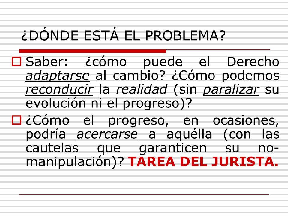 ¿DÓNDE ESTÁ EL PROBLEMA? Saber: ¿cómo puede el Derecho adaptarse al cambio? ¿Cómo podemos reconducir la realidad (sin paralizar su evolución ni el pro