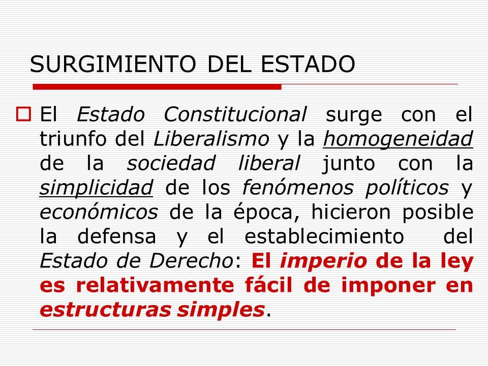 SURGIMIENTO DEL ESTADO El Estado Constitucional surge con el triunfo del Liberalismo y la homogeneidad de la sociedad liberal junto con la simplicidad