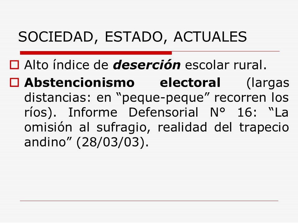 SOCIEDAD, ESTADO, ACTUALES Alto índice de deserción escolar rural. Abstencionismo electoral (largas distancias: en peque-peque recorren los ríos). Inf