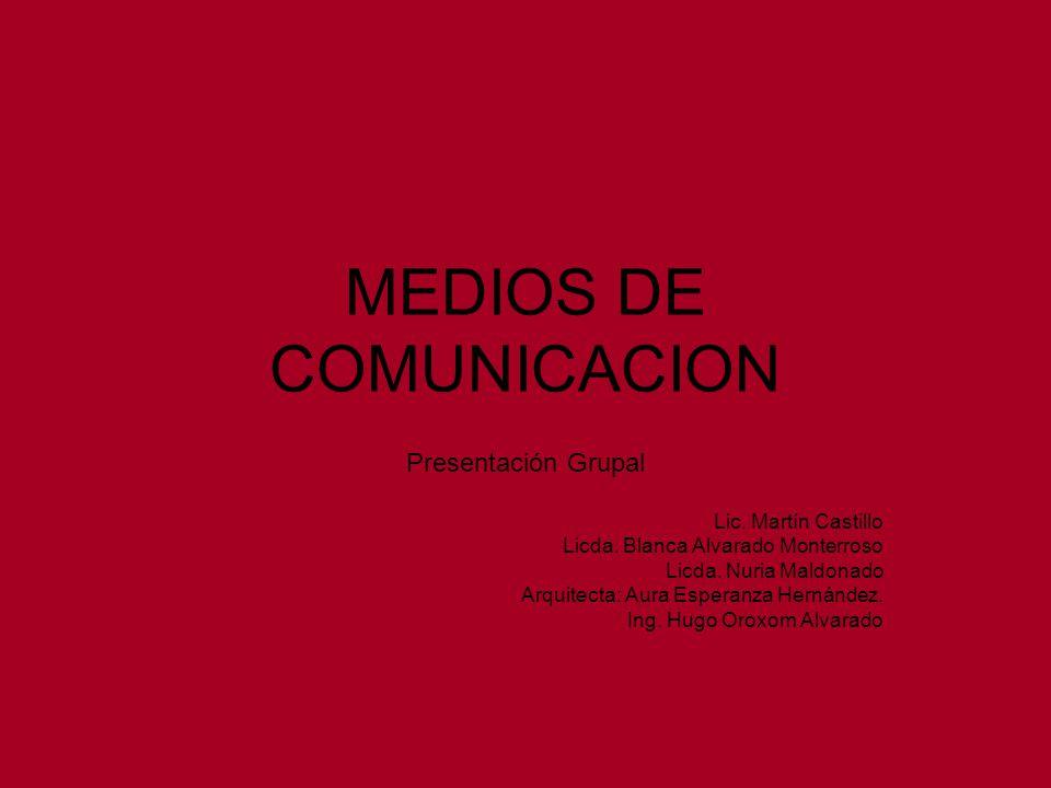 MEDIOS DE COMUNICACION Presentación Grupal Lic. Martín Castillo Licda. Blanca Alvarado Monterroso Licda. Nuria Maldonado Arquitecta: Aura Esperanza He