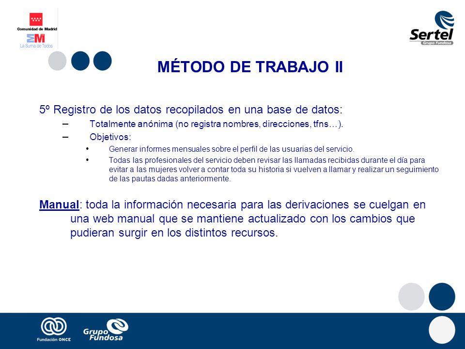 MÉTODO DE TRABAJO II 5º Registro de los datos recopilados en una base de datos: – Totalmente anónima (no registra nombres, direcciones, tfns…). – Obje