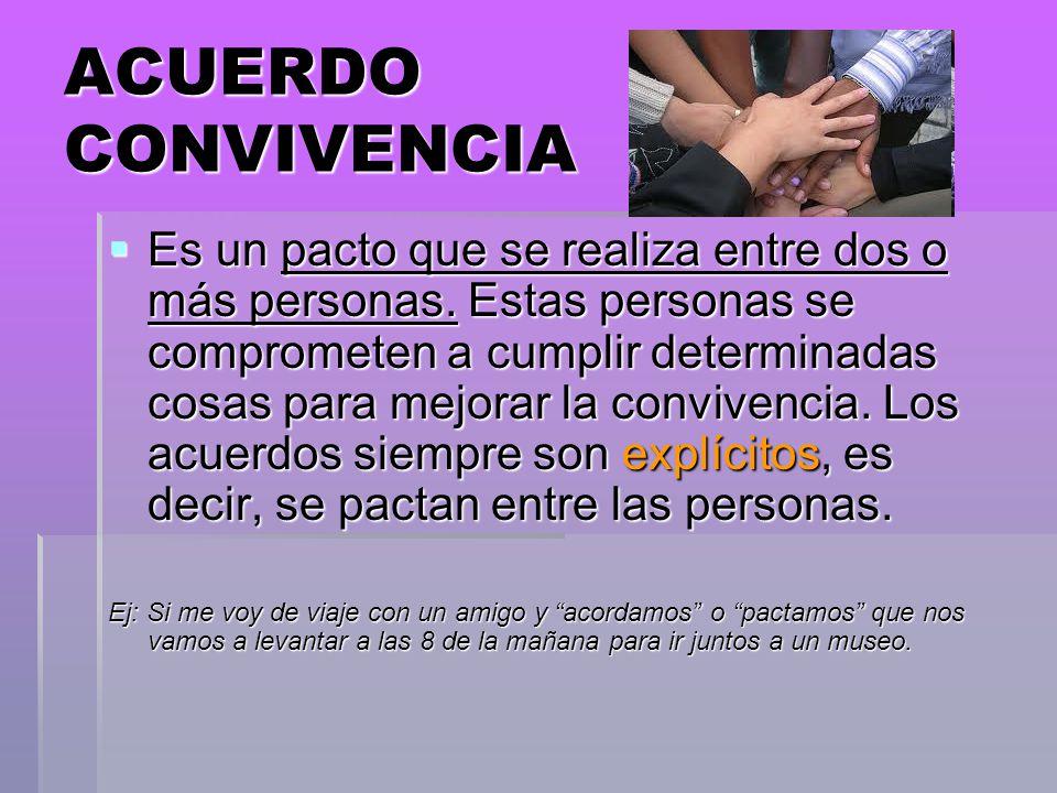 ACUERDO CONVIVENCIA Es un pacto que se realiza entre dos o más personas. Estas personas se comprometen a cumplir determinadas cosas para mejorar la co