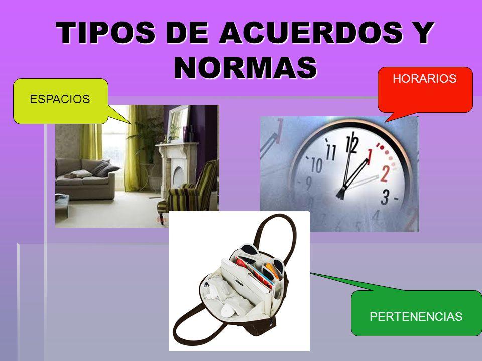 TIPOS DE ACUERDOS Y NORMAS ESPACIOS HORARIOS PERTENENCIAS