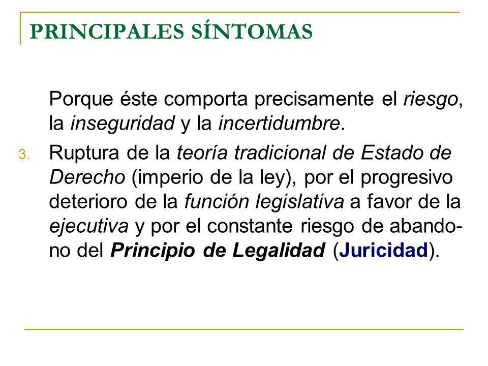 PRINCIPALES SÍNTOMAS Porque éste comporta precisamente el riesgo, la inseguridad y la incertidumbre.