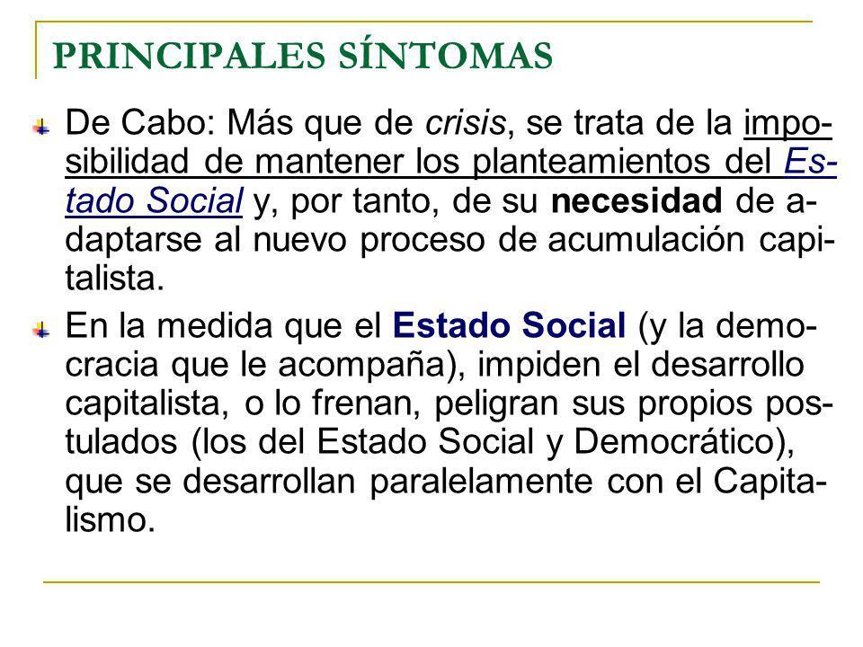 PRINCIPALES SÍNTOMAS De Cabo: Más que de crisis, se trata de la impo- sibilidad de mantener los planteamientos del Es- tado Social y, por tanto, de su necesidad de a- daptarse al nuevo proceso de acumulación capi- talista.