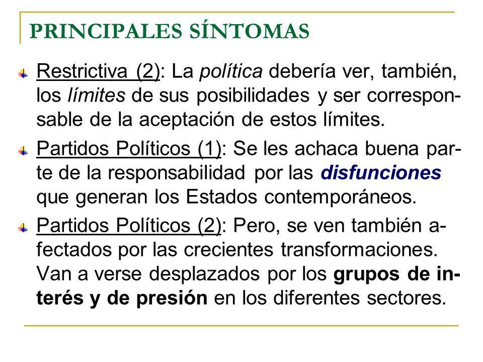 PRINCIPALES SÍNTOMAS Restrictiva (2): La política debería ver, también, los límites de sus posibilidades y ser correspon- sable de la aceptación de estos límites.