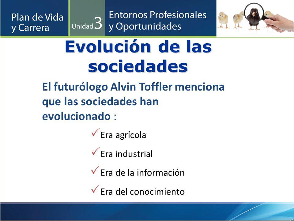 Evolución de las sociedades Era agrícola Era industrial Era de la información Era del conocimiento El futurólogo Alvin Toffler menciona que las socied