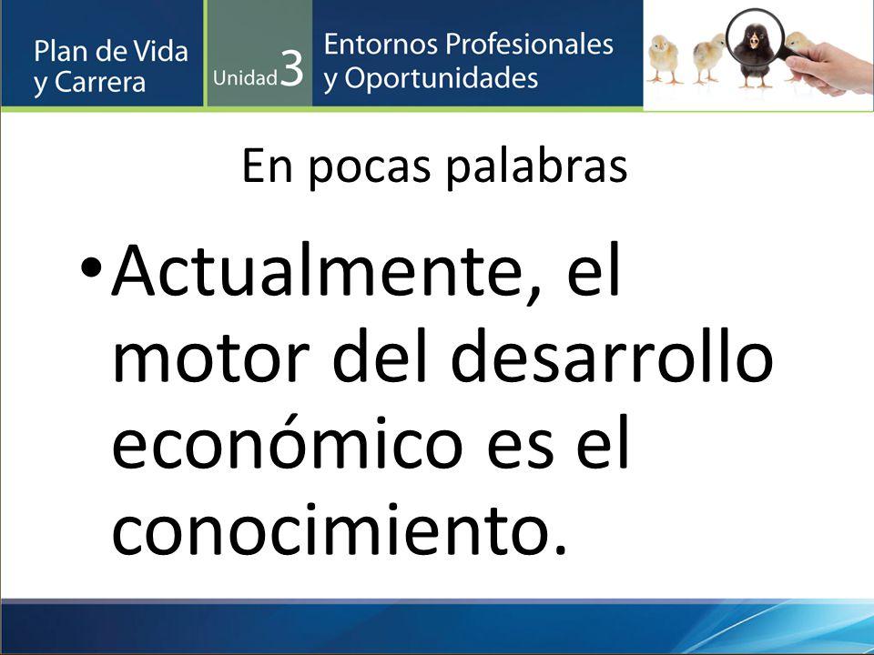 En pocas palabras Actualmente, el motor del desarrollo económico es el conocimiento.