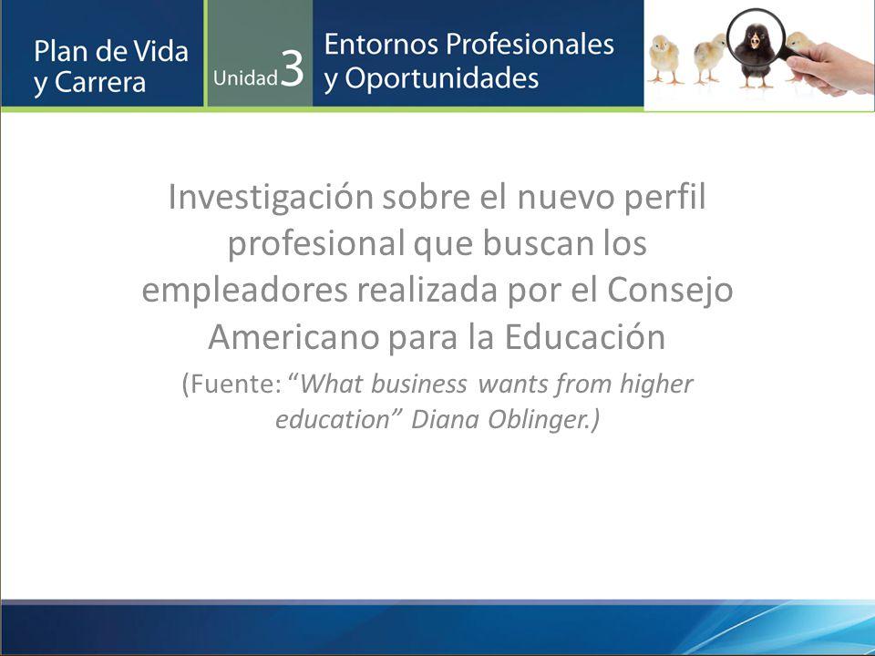 Investigación sobre el nuevo perfil profesional que buscan los empleadores realizada por el Consejo Americano para la Educación (Fuente: What business