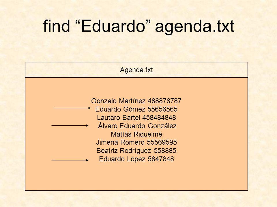 find Eduardo agenda.txt Eduardo Gómez 55656565 Álvaro Eduardo González Eduardo López 5847848 Álvaro Eduardo González Eduardo Gómez 55656565 Eduardo López 5847848 find Eduardo agenda.txt | sort