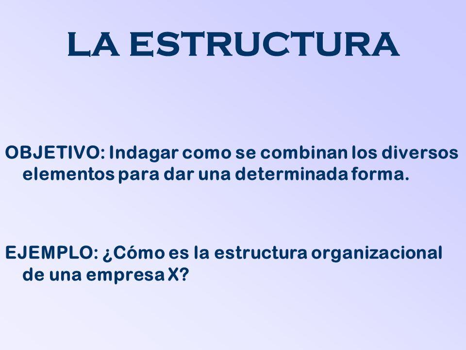 LA ESTRUCTURA OBJETIVO: Indagar como se combinan los diversos elementos para dar una determinada forma. EJEMPLO: ¿Cómo es la estructura organizacional