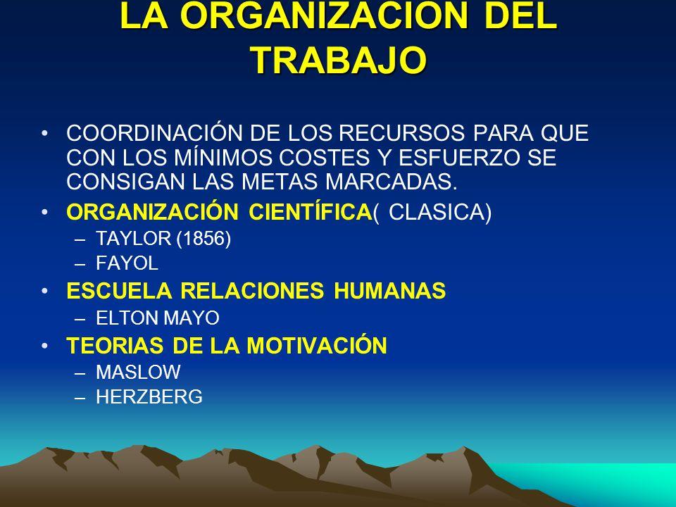 LA ORGANIZACIÓN DEL TRABAJO COORDINACIÓN DE LOS RECURSOS PARA QUE CON LOS MÍNIMOS COSTES Y ESFUERZO SE CONSIGAN LAS METAS MARCADAS. ORGANIZACIÓN CIENT