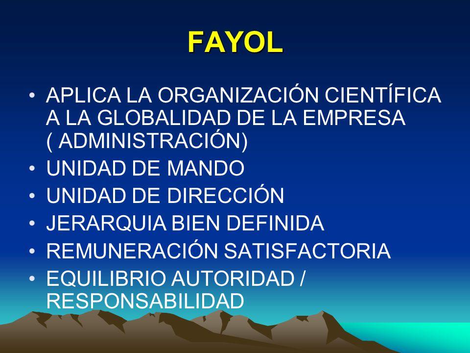 FAYOL APLICA LA ORGANIZACIÓN CIENTÍFICA A LA GLOBALIDAD DE LA EMPRESA ( ADMINISTRACIÓN) UNIDAD DE MANDO UNIDAD DE DIRECCIÓN JERARQUIA BIEN DEFINIDA RE