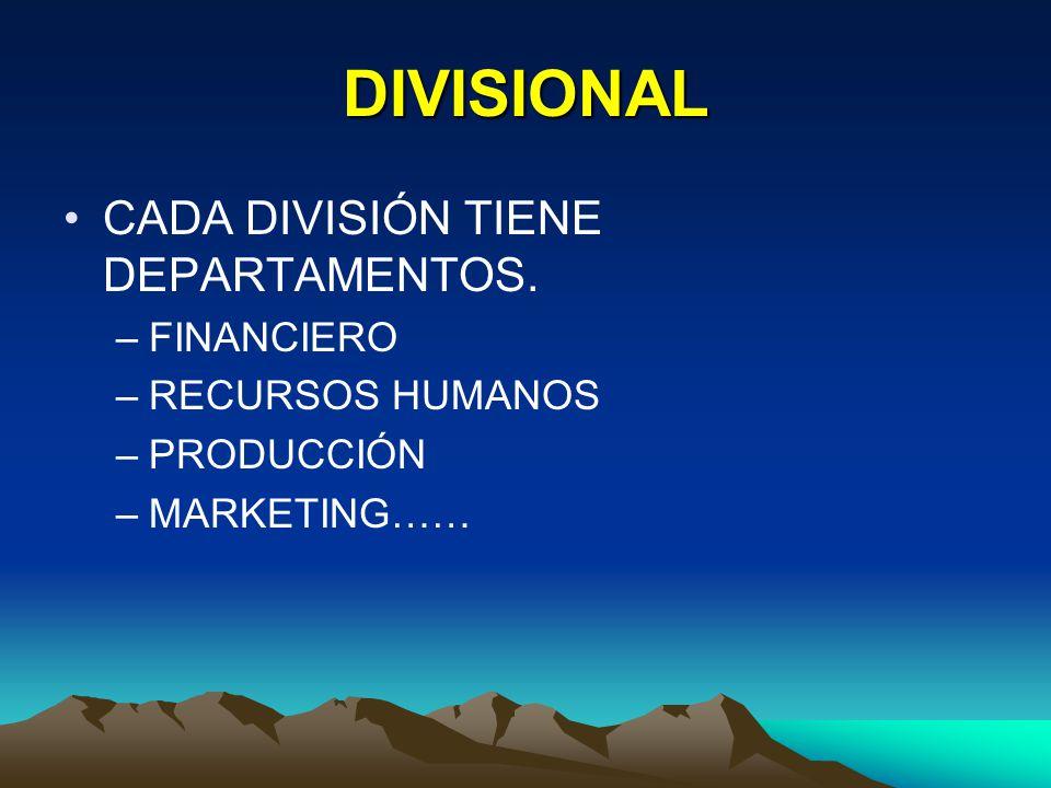 DIVISIONAL CADA DIVISIÓN TIENE DEPARTAMENTOS. –FINANCIERO –RECURSOS HUMANOS –PRODUCCIÓN –MARKETING……