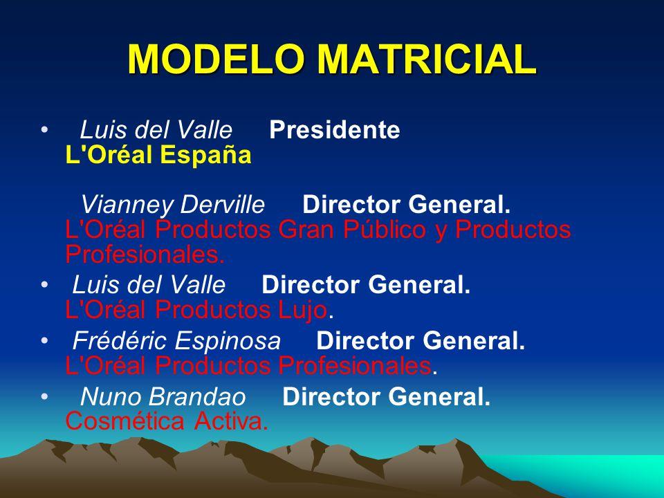 MODELO MATRICIAL Luis del Valle Presidente L'Oréal España Vianney Derville Director General. L'Oréal Productos Gran Público y Productos Profesionales.