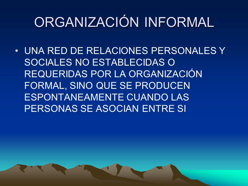 ORGANIZACIÓN INFORMAL UNA RED DE RELACIONES PERSONALES Y SOCIALES NO ESTABLECIDAS O REQUERIDAS POR LA ORGANIZACIÓN FORMAL, SINO QUE SE PRODUCEN ESPONT