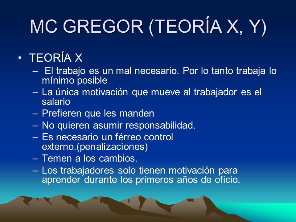 MC GREGOR (TEORÍA X, Y) TEORÍA X – El trabajo es un mal necesario. Por lo tanto trabaja lo mínimo posible –La única motivación que mueve al trabajador