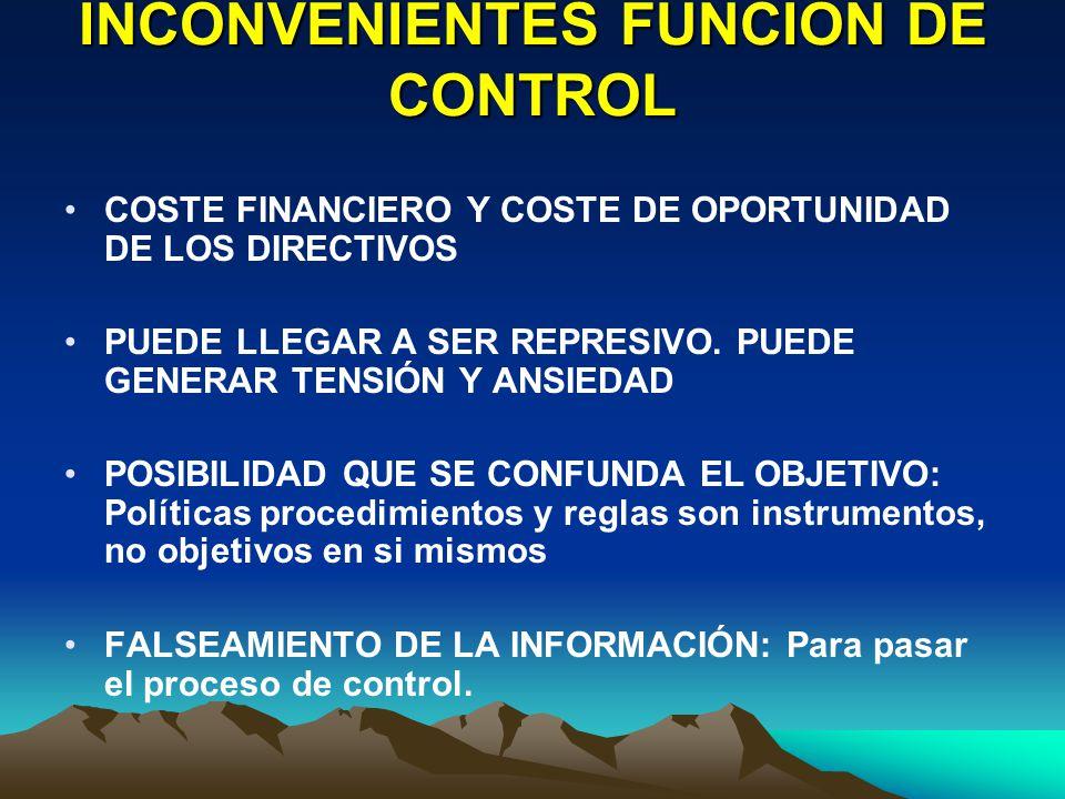 INCONVENIENTES FUNCIÓN DE CONTROL COSTE FINANCIERO Y COSTE DE OPORTUNIDAD DE LOS DIRECTIVOS PUEDE LLEGAR A SER REPRESIVO. PUEDE GENERAR TENSIÓN Y ANSI