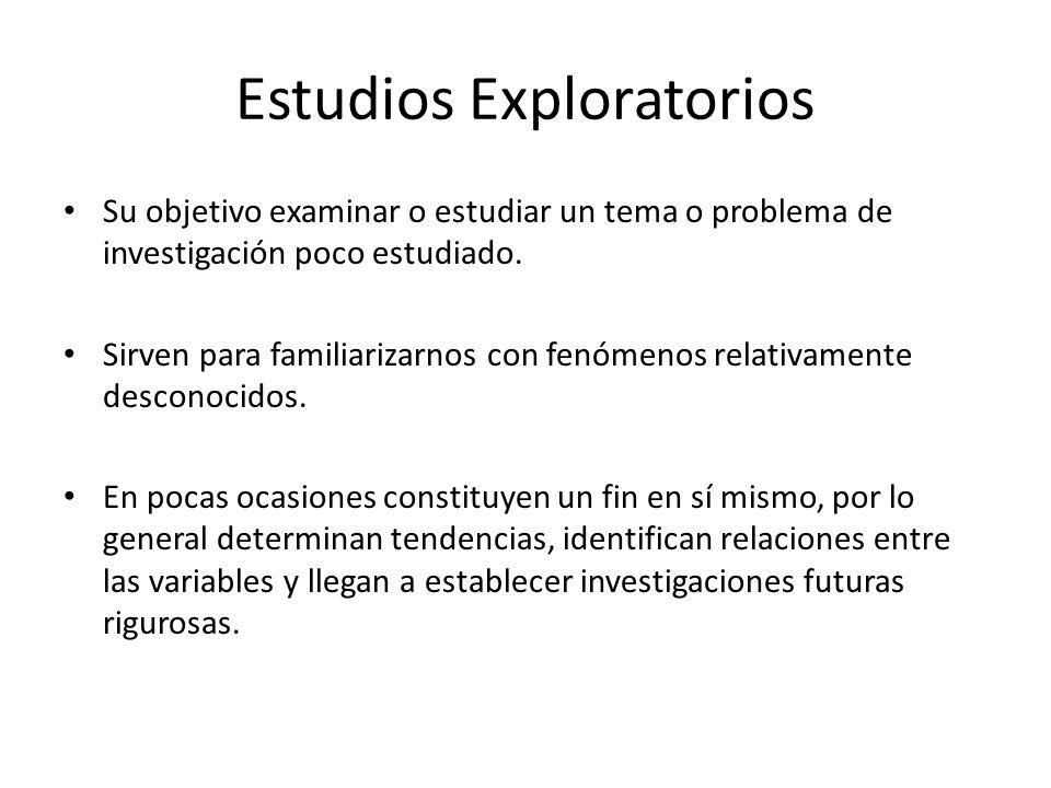 Estudios Exploratorios Su objetivo examinar o estudiar un tema o problema de investigación poco estudiado. Sirven para familiarizarnos con fenómenos r