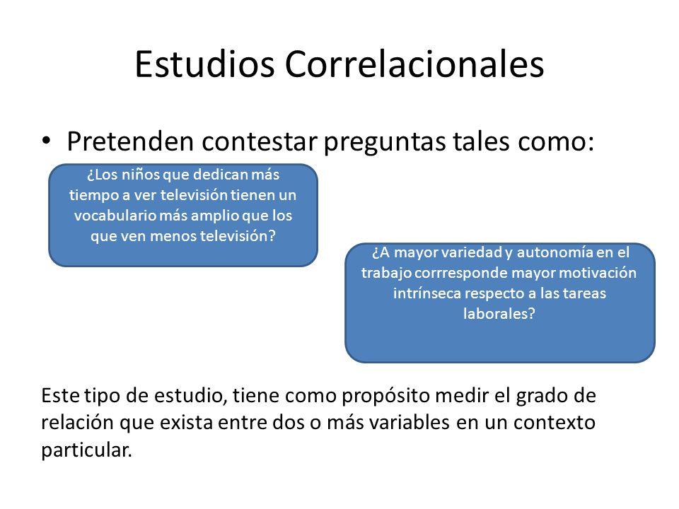 Estudios Correlacionales Pretenden contestar preguntas tales como: Este tipo de estudio, tiene como propósito medir el grado de relación que exista en