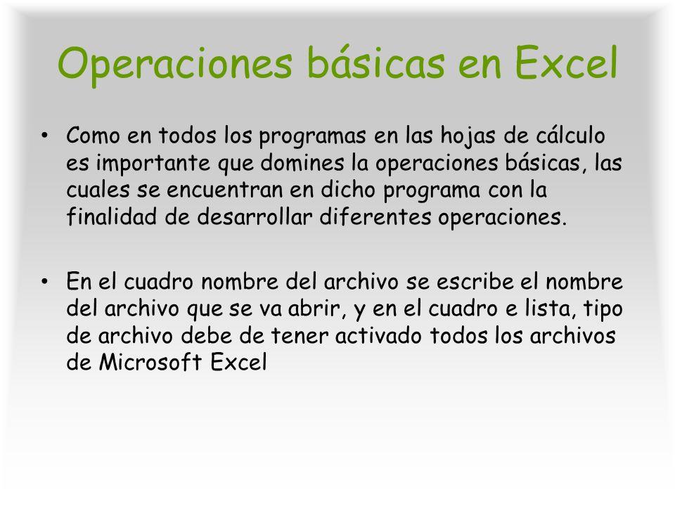 Operaciones básicas en Excel Como en todos los programas en las hojas de cálculo es importante que domines la operaciones básicas, las cuales se encue