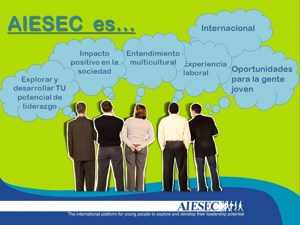 AIESEC es… Internacional Experiencia laboral Oportunidades para la gente joven Explorar y desarrollar TU potencial de liderazgo Impacto positivo en la sociedad Entendimiento multicultural