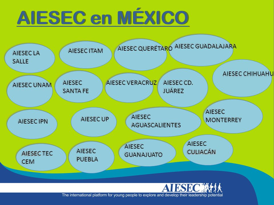 AIESEC en MÉXICO AIESEC LA SALLE AIESEC UNAM AIESEC ITAM AIESEC IPN AIESEC SANTA FE AIESEC UP AIESEC PUEBLA AIESEC AIESEC TEC CEM AIESEC QUERÉTARO AIESEC GUADALAJARA AIESEC GUANAJUATO AIESEC VERACRUZ AIESEC AGUASCALIENTES CULIACÁN AIESEC CULIACÁN AIESEC CHIHUAHUA AIESEC CD.