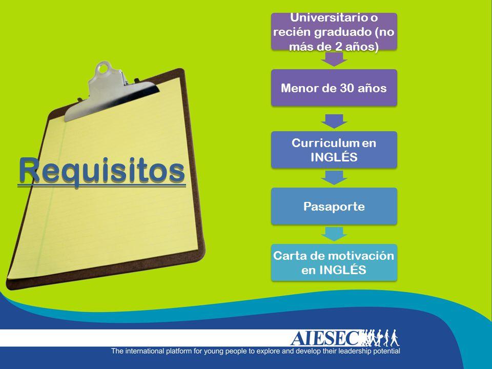 Requisitos Universitario o recién graduado (no más de 2 años) Menor de 30 años Curriculum en INGLÉS Pasaporte Carta de motivación en INGLÉS