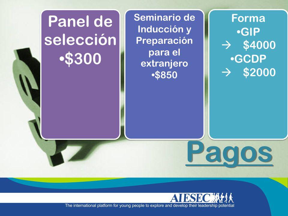 Pagos Panel de selección $300 Panel de selección $300 Seminario de Inducción y Preparación para el extranjero $850 Seminario de Inducción y Preparació