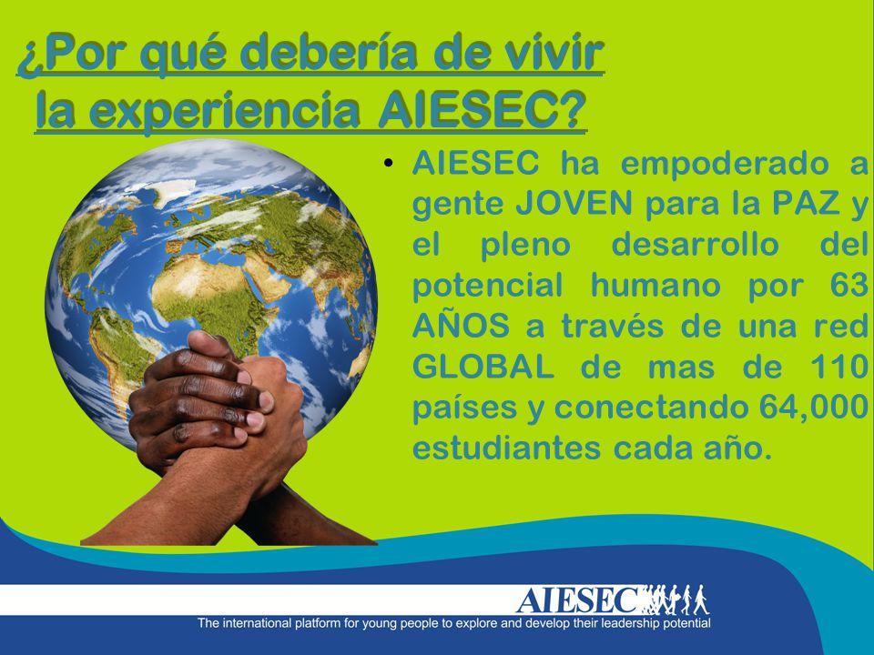¿Por qué debería de vivir la experiencia AIESEC? AIESEC ha empoderado a gente JOVEN para la PAZ y el pleno desarrollo del potencial humano por 63 AÑOS