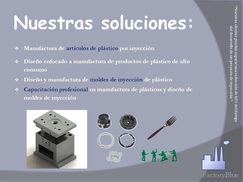 Nuestras soluciones: Manufactura de artículos de plástico por inyección Diseño enfocado a manufactura de productos de plástico de alto consumo Diseño