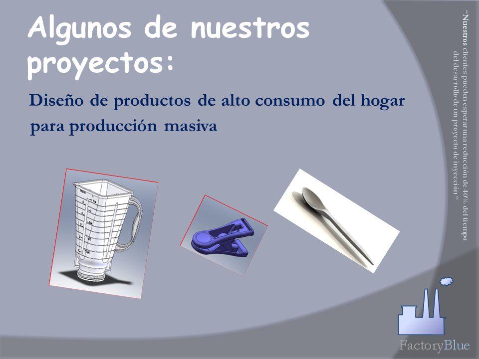 Diseño de productos de alto consumo del hogar para producción masiva Algunos de nuestros proyectos: Nuestros clientes pueden esperar una reducción de 40% del tiempo del desarrollo de un proyecto de inyección